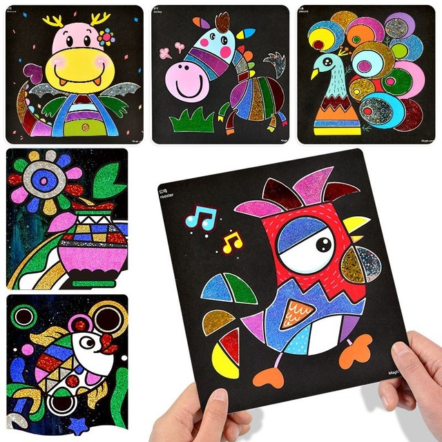 Kids Rainbow Paper DIY Painting Artistic Educational Toys For Children Muilticolors Manual Magic Sticker Drawing Toy Girls Toy