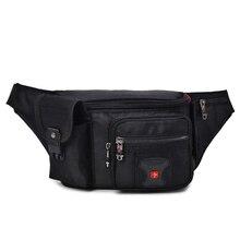 سويسرية متعددة الوظائف أكسفورد الخصر حقيبة الرجال الأسود عادية مضحك حزمة الذكور متعددة جيب المرأة المال الحقيبة البطن حقيبة للهواتف المحمولة