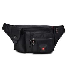 Swiss Multi function Oxford Waist Bag Men Black Casual Funny Pack Male Multi pocket Women Money Pouch Belly Bag For Cellphones