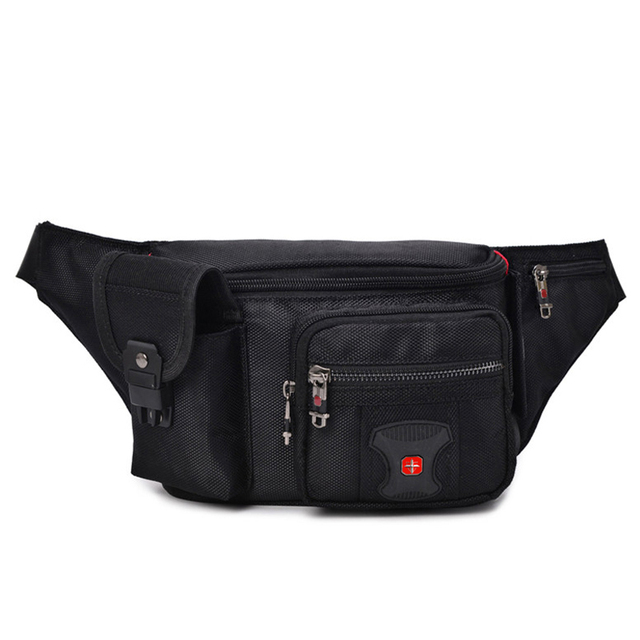 e275c4f3c5cf US $23.43 29% OFF|Swiss Multi function Oxford Waist Bag Men Black Casual  Funny Pack Male Multi pocket Women Money Pouch Belly Bag For Cellphones-in  ...