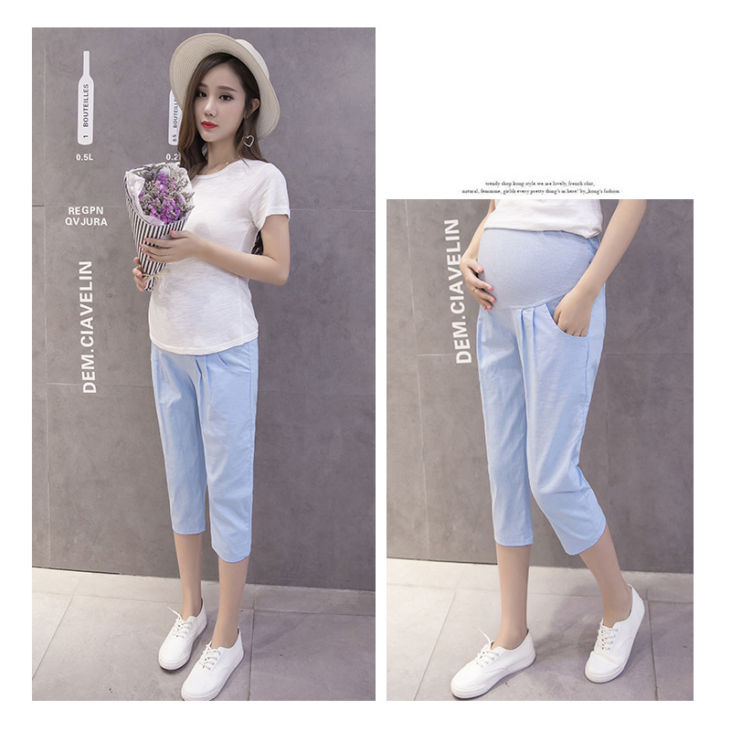 Summer Maternity Bottom Trousers Cotton Elastic Belly Women Pregnant Pant Loose Casual Adjustable Waist Capris