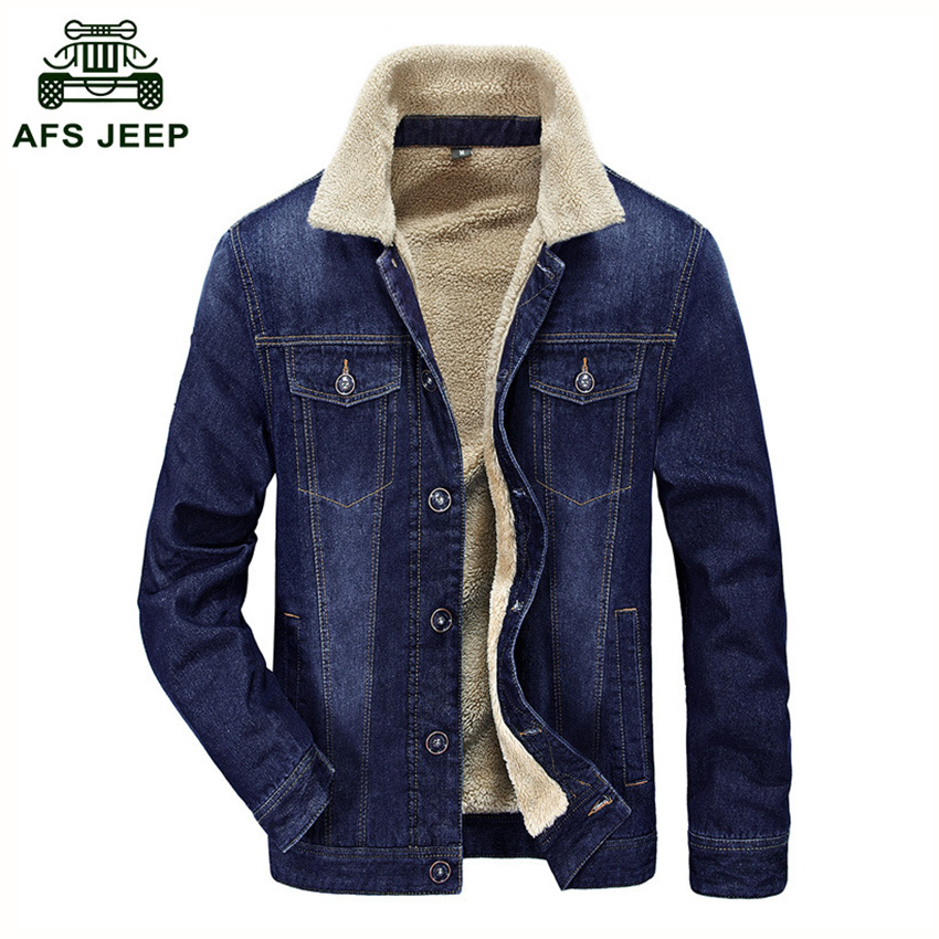 Free Shipping AFS JEEP Brand Men's Winter Coat Autumn And Winter Men's Denim Jacket Casual Cotton And Thick Cashmere Coat D179