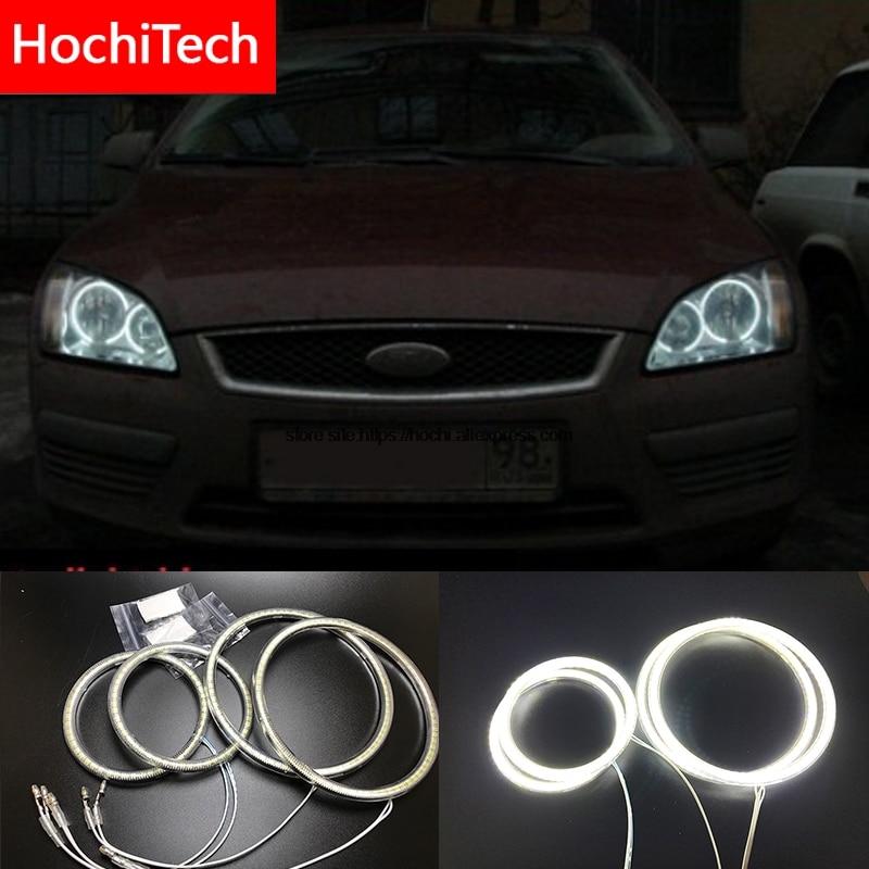 HochiTech For Ford Focus II Mk2 2004-2008 Ultra bright SMD white LED angel eyes 2600LM halo ring kit daytime running light DRL цена