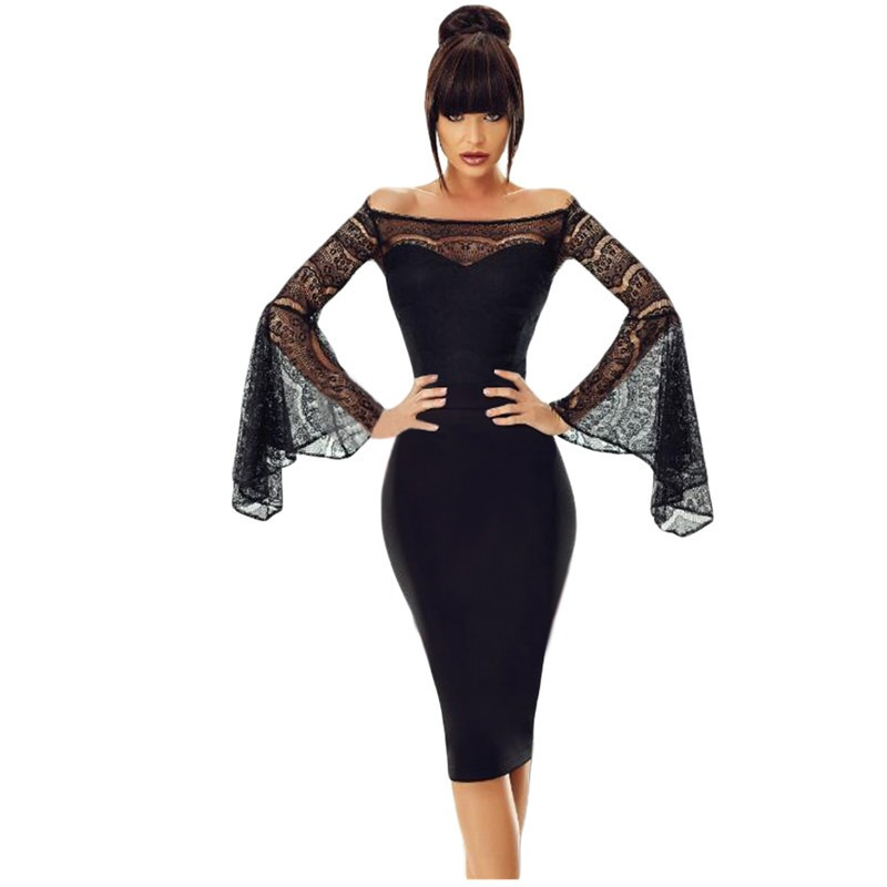 4cb3dce8 Dear Lover Little Black Spring 2018 Sexy Party Lace Bell Long Sleeve Off  Shoulder Bodycon Dress