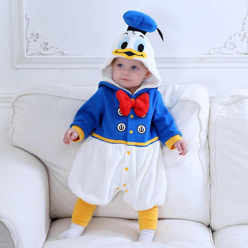 Yeni kış çocuk Onesie sevimli Donald Duck erkek hayvan çocuk giysileri Cosplay pijama cadılar bayramı Purim noel kostümleri Romper