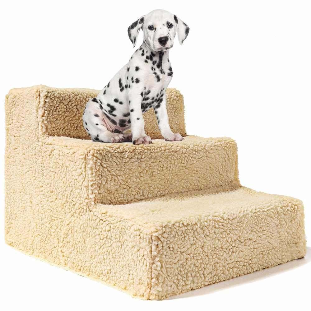 Gomaomi Pet 3 Steps Stairs for Small Dog Cat Pet Ramp Ladder Portable up to 20kg