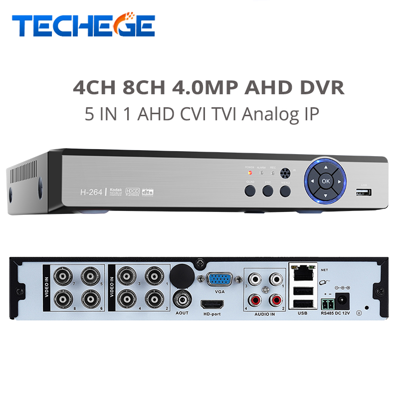 ФОТО H.264+ 5 in 1 Security CCTV DVR 4MP For AHD CVI TVI Analog IP Camera 4MP Resolution Hybrid Video Recorder support Motion Detect