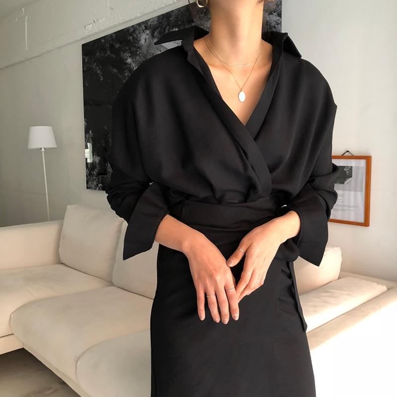 CHICEVER Bow Bandage Dresses For Women V Neck Long Sleeve High Waist Women's Dress Female Elegant Fashion Clothing New 19 14