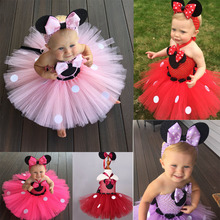 Girls Minnie Mouse Tutu Dress Sets Ballet Princess With Headband Halloween Costume Polka Dot Cosplay Clothes