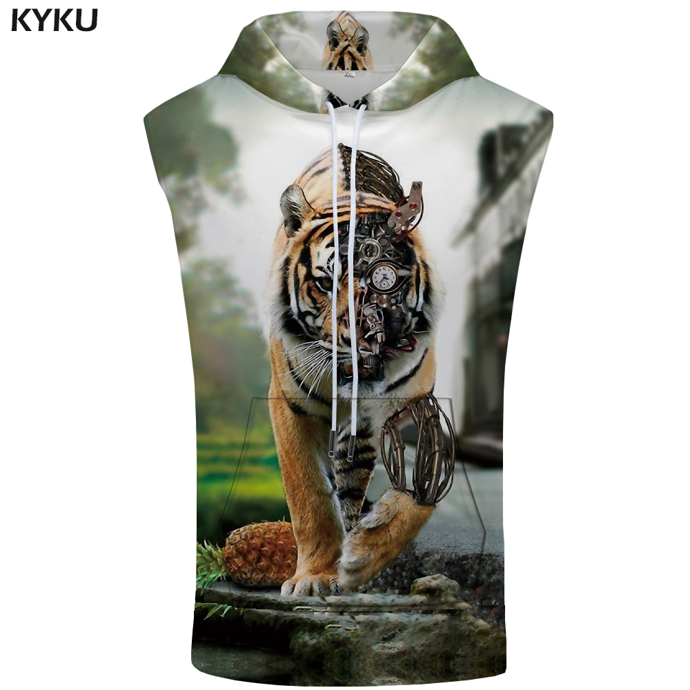 KYKU Tiger Hooded   Tank     Top   Men Animal Vest Mechanical Metal 3d Printed Stringer Pineapple Fitness Punk Rock Mens Clothing Summer
