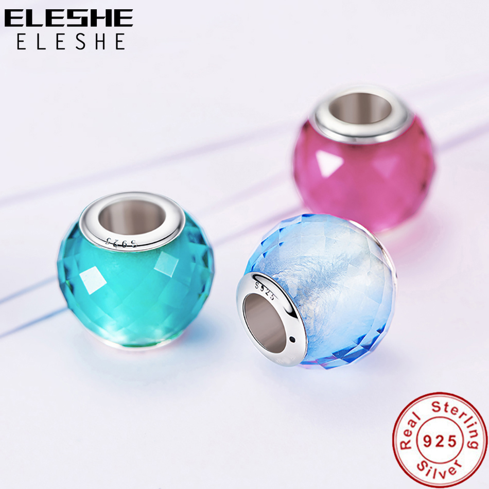 ELESHE Original 925 Sterling Silver Crystal Charms Faceted Murano Glass Beads Fit Pandora Charm Bracelet Authentic Jewelry Gift