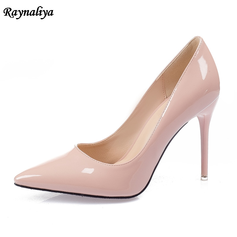 7 CM Large Size Brand Elegant Women Office Pumps Patent Genuine Leather Red White Nude High Heels Pumps Bridal Shoes XZL-B0000