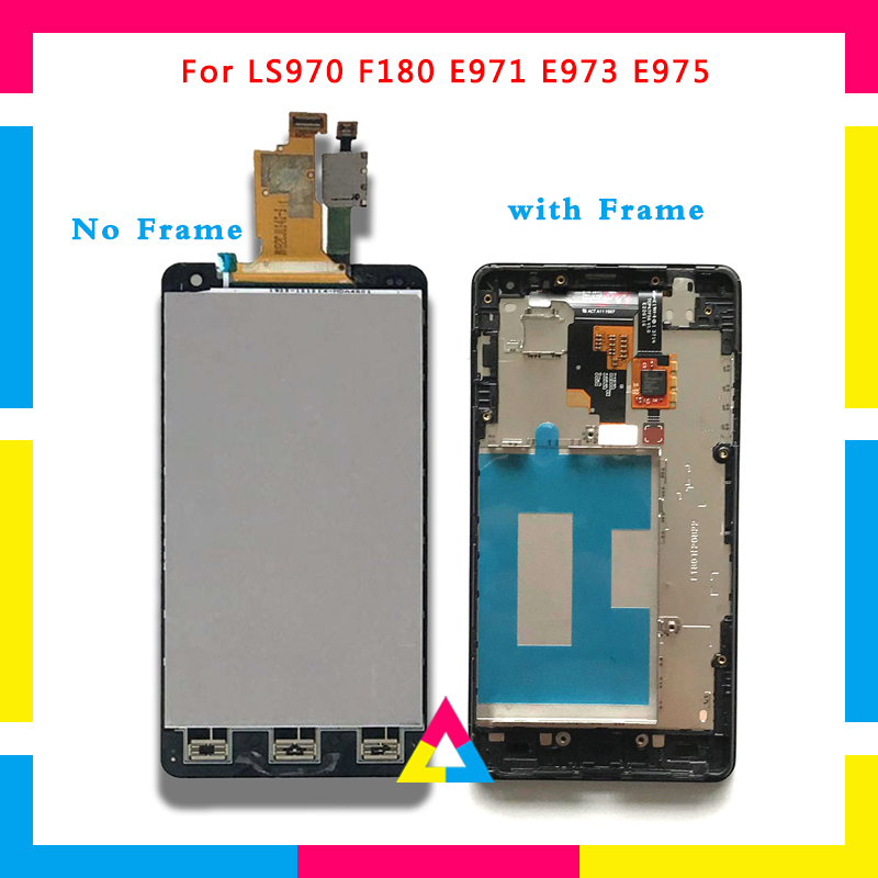 LCD Display Screen With Touch Screen Digitizer Assembly For LG Optimus G LS970 F180 E971 E973 E975 Black No Frame or with Frame