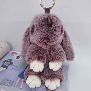 Car Keychain Ornament Toys Pendant Jewelry Puffy Rabbit New-Year-Gifts Fashion Cute Kids