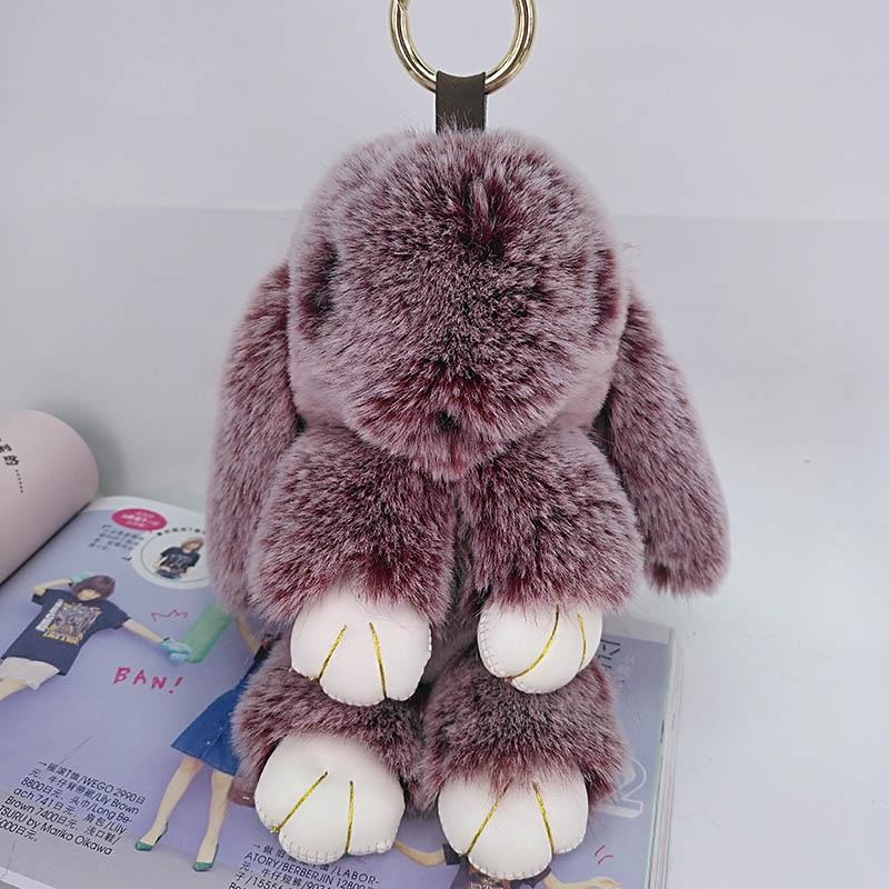 Милый кролик, пушистый брелок для ключей, подвеска для сумки ручной работы, Модная бижутерия, украшение, брелок для автомобиля, новогодние п...