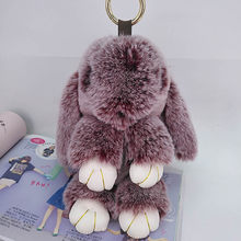 Bonito coelho inchado chaveiros sacos artesanais pingente moda jóias ornamento carro chaveiro presentes ano novo crianças brinquedos