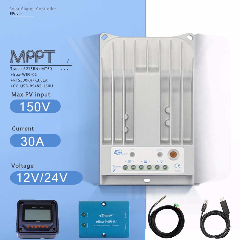 Tracer3215BN 30A MPPT Solar Charge Controller 12/24V Auto PV Regulator with MT50 Meter EBOXWIFI Temperature Sensor and USB Cable 30a mppt solar charge controller regulator tracer7810bp high efficiecny 12v 24v auto work with pc usb communication cable