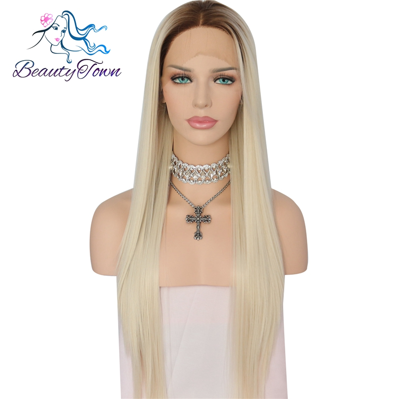 BeautyTown Brown Roots Ombre Light Blonde High Temperature Fiber Glueless Daily Makeup Wedding Party Synthetic Front Lace Wig