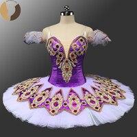 Fltoture CH0041B Purple Ballet Tutus Lace Decoration Professional Ballet Pancake Child Ballet Costumes 10 Layers Dance