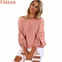 Ebizza Casual Pullovers Sweater Jumper Women 2017Autumn Sexy Knitwear Long Sleeve Tassel Loose Tops Streetwear Femme