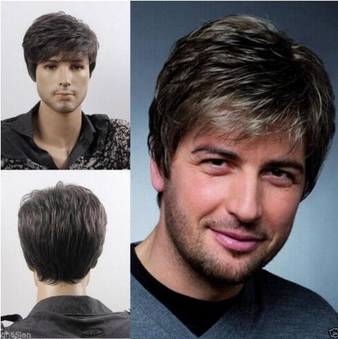 Fashion sexy Men's man Short gray Cosplay Natural Hair Wigs LY&CS Cheap sale dancing party cosplays