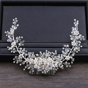 Image 2 - GETNOIVAS Luxury Tiara Shiny Crystal Pearl Beads Hair Comb Crown Bride Hairband Headband Bridal Wedding Hair Accessory SL