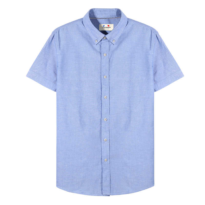 Langmeng プラスサイズ 5XL 綿 100% メンズシャツ男性ドレスシャツファッション夏の高品質半袖男性のシャツ、白ブルー