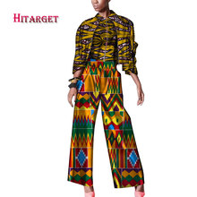 купить African Dashiki women 3 Pieces Set Cotton Print Wax Crop 2 Tops and Pant Sets Sewing African Women Suits africa clothes WY453 дешево