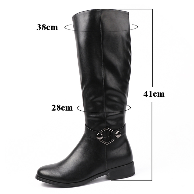 AIMEIGAO High Quality Knee High Boots Women Soft Leather Knee Winter Boots Comfortable Warm Fur Women Long Boots Shoes 5