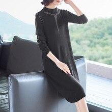 цены на Black stand neck elastic knit wool sweater dress 2018 new women autumn winter a line long sleeve dress  в интернет-магазинах
