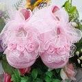 Lo nuevo Princessborn Todder Pre-walker zapatos Rosa de Flores arco de La Cinta Zapatos de Bebé suave suela WX026