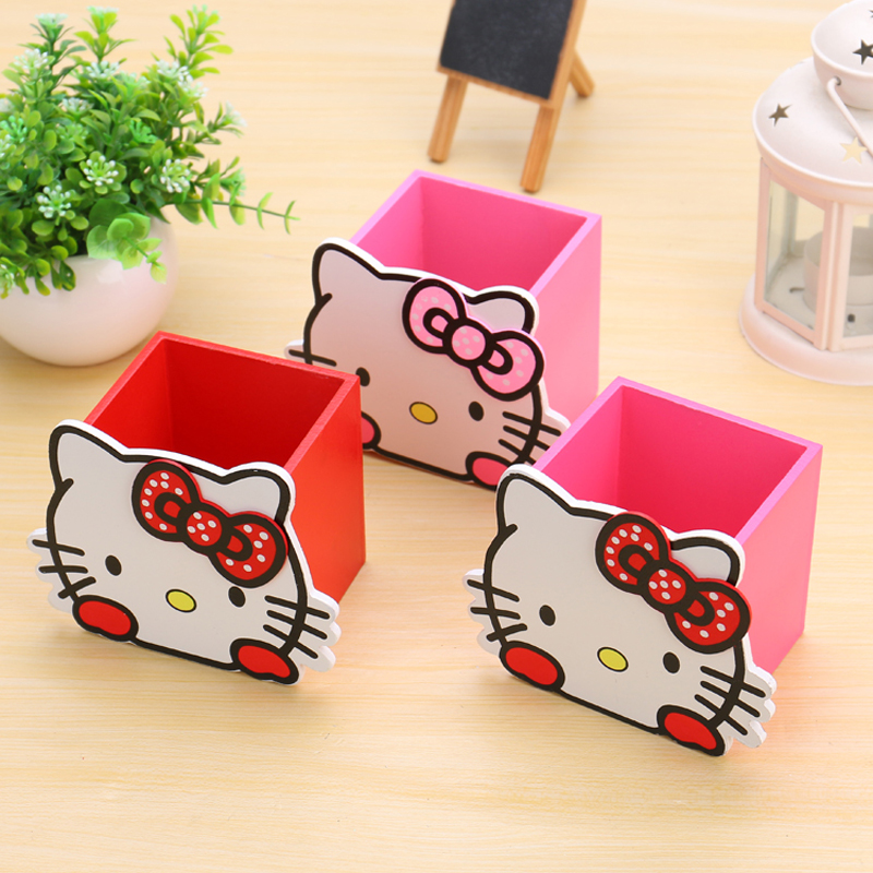 Kawaii Hello Kitty Pencil Holder Cartoon Woodenness Cute Multifunction Desk Storage Cylinder Gift Stationery School Supplies
