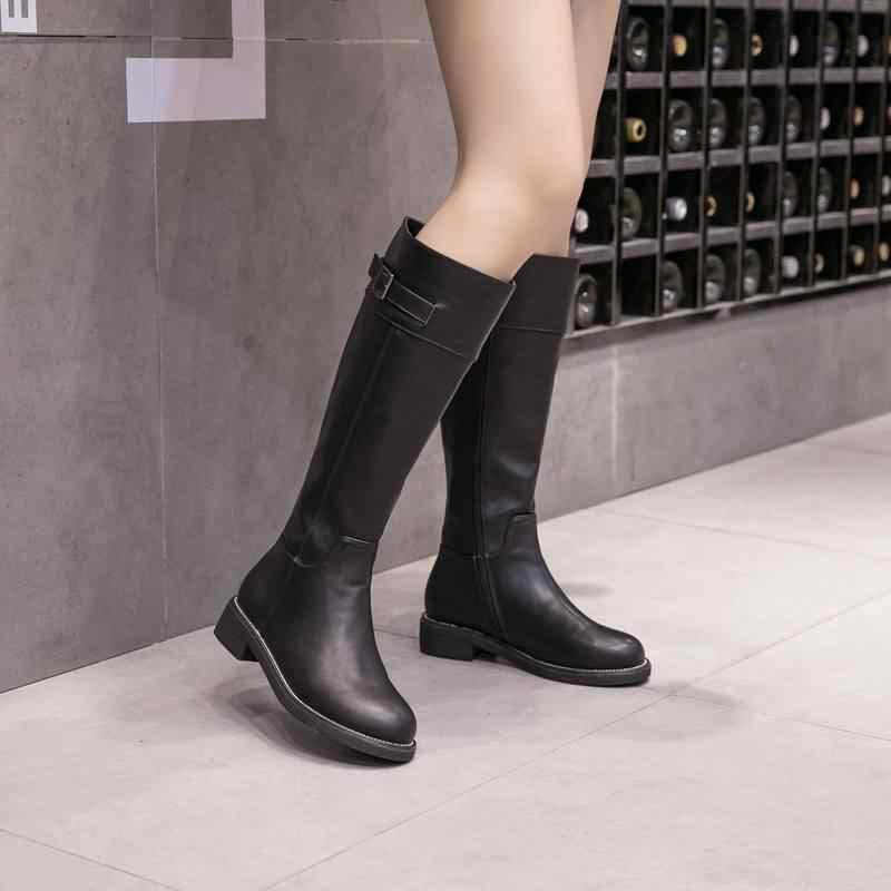 2018 Yeni Varış Yuvarlak Ayak Sıcak Tutmak PU Kışlık Botlar Fermuar Uyluk Yüksek Çizmeler Kalın Topuk Metal Toka binici çizmeleri için kadın L6f5