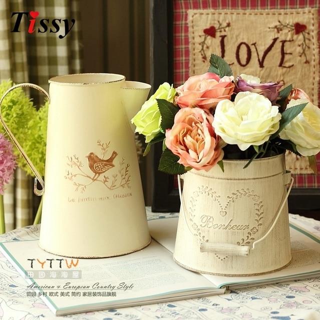 2 Types Available Fashion Vintage Retro Iron Tub For Home Table Decoration  Flower Vase Pot Wedding