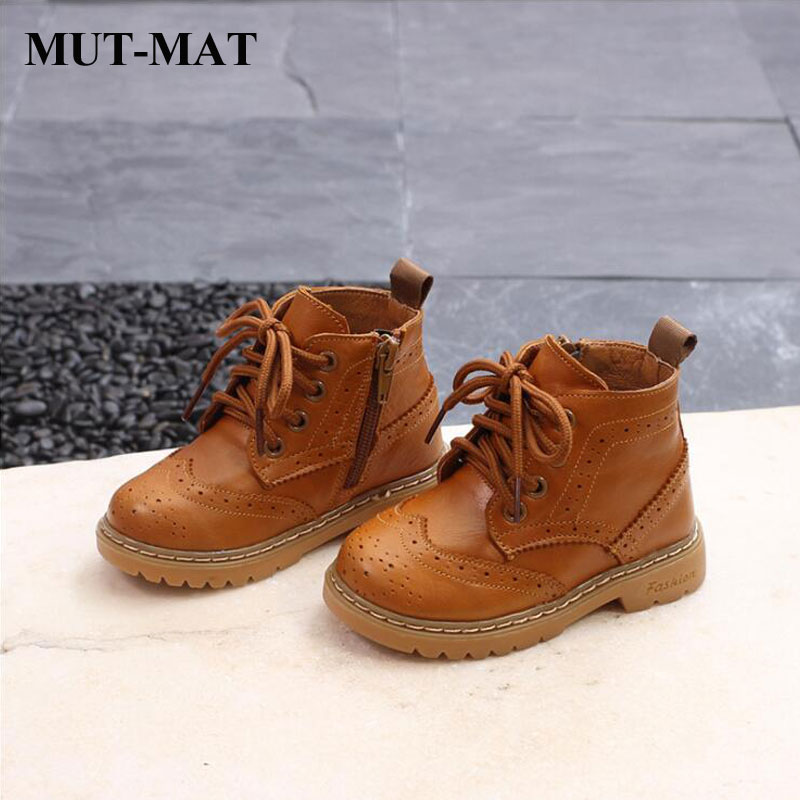 Kid Martin Boots Leather Boots Boys And Girls Fashion Motorcycle Boots Soft Bottom Princess Boots