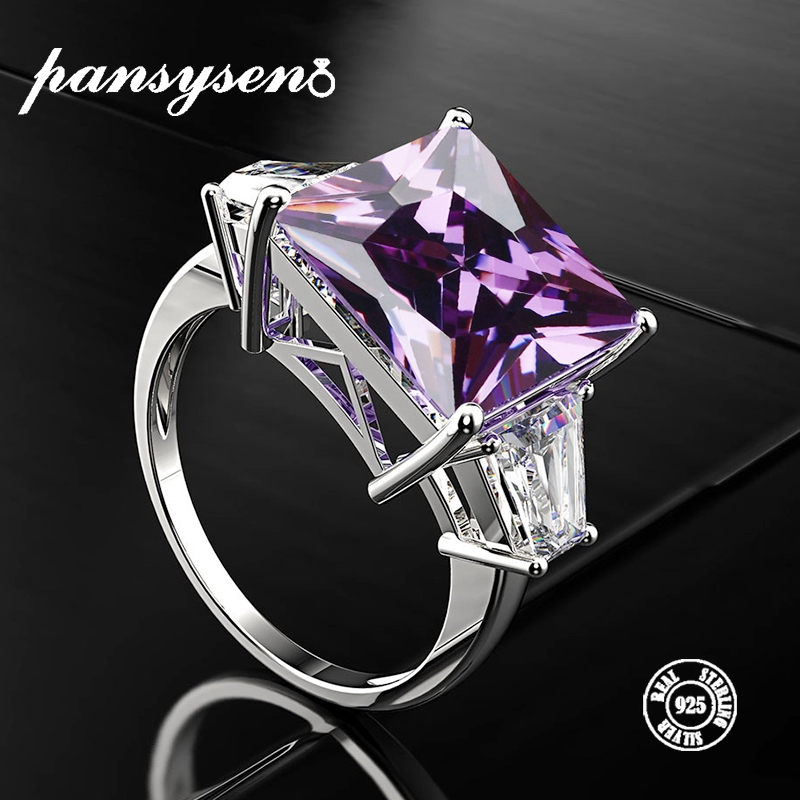 PANSYSEN Real 925 Sterling Silver Jewelry Amethyst Rings 12*12mm Natural Purple Gemstone Women's Wedding Engagement Ring 8 Color