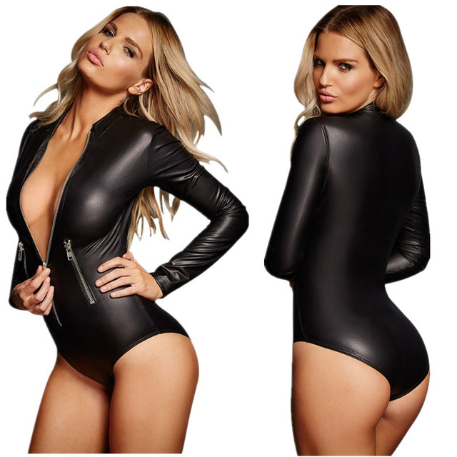28b78c0471 Sexy Deep V-neck Zip Front Long Sleeve Black Faux Leather Wet Look Short  Bodysuits Women Hot Rompers Bodycon Slim Jumpsuits