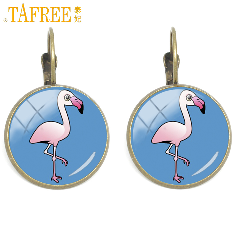 TAFREE No Feathered Flamingo Clip on Earrings on a blue background a pair earring beautiful gift send for mother jewelry H517