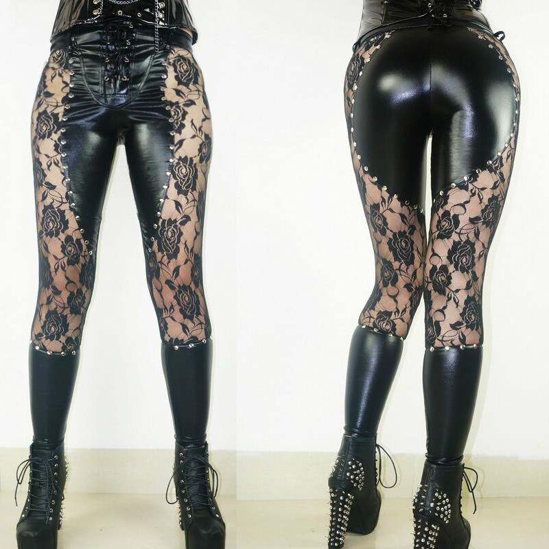 2017 New Women Sexy Lingerie Faux Leather Black Lace Up Leggings Wet look Rivets Clubwear Fashion Lace Gothic Pants Ladies S-XL