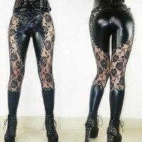 2018 New Women Sexy Lingerie Faux Leather Black Lace Up Leggings Wet look Rivets Clubwear Fashion Lace Gothic Pants Ladies S XL