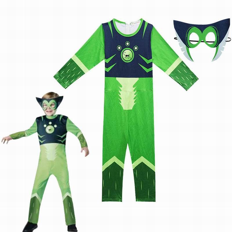 Green Wild Kratts Cosplay Costume Boy Jumpsuits&Mask 2PCS Kids Halloween Fancy Dress Children Wild Kratts Costumes Streetwear
