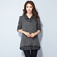 Plus Size Plus Size Female Mother Clothing 200 Faux Two Piece Mm Long Johns T Shirt