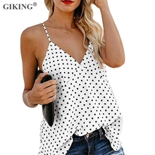 GIKING Polka Dot Print Summer Tank Camis Women Sexy V-neck Boho Loose Tops Backless Female 2019 Casual Tanks Office Lady