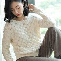 100% кашемировый свитер Для женщин неровный вязаный дизайн с круглым вырезом одежда с длинным рукавом 2 цвета женские Повседневное пуловеры т