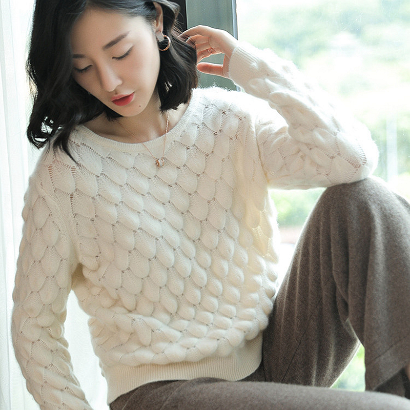 100 Cashmere Sweater Women Uneven Knitted Design O Neck Long Sleeves 2 Colors Ladies Casual Pullovers Knitwear 2018 New Fashion in Pullovers from Women 39 s Clothing