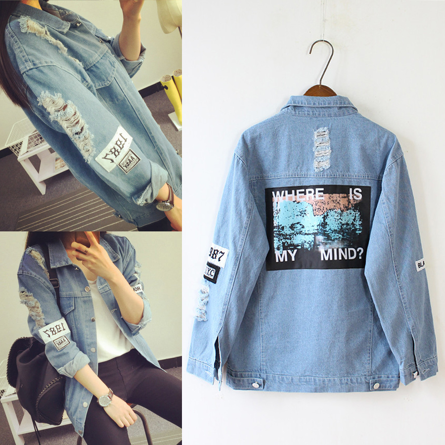 Denim   Jacket   Women Buttom Fashion Hole   Basic     Jackets   Female Loose Casual Spring Autumn Cotton Coat Women Outwear 2019 KLD1179