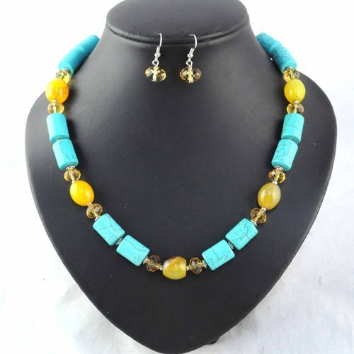 calaite Green stone beaded chain necklace earring jewelry set for women , with earrings ,NL-892