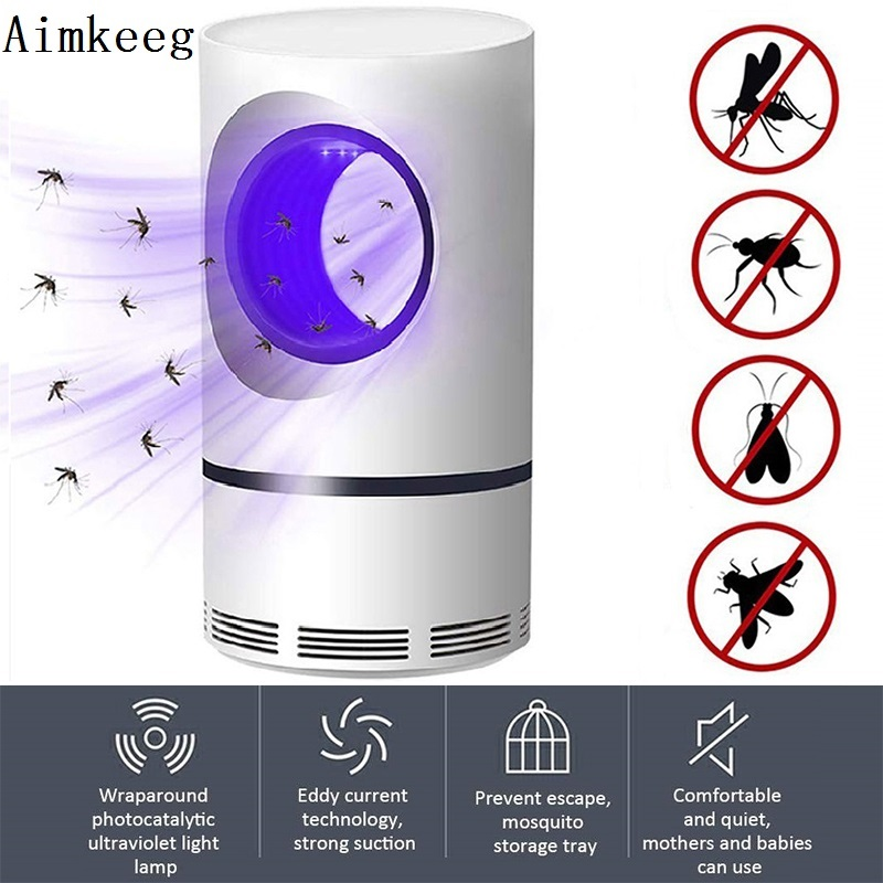 Aimkeeg Ultraviolet Mosquito Killer Lamp USB Electronic Mosquito Killer LED Night Light  Mute Home LED Insect Trap Radiationless