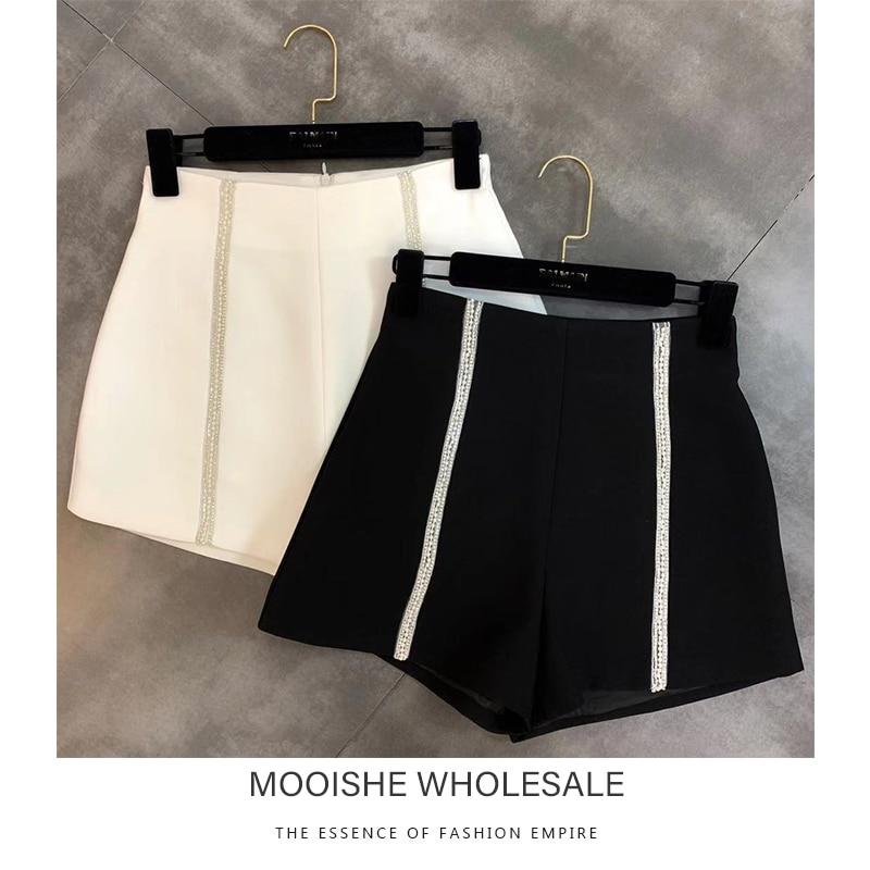 Beading Diamond Women   Shorts   High Waist White Black Wide Leg Hotpants Bottom For Summer