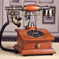 Madeira do vintage telefone real antigo telefone fixo com id de chamada redial casa telefone com flor rd caixa gaveta